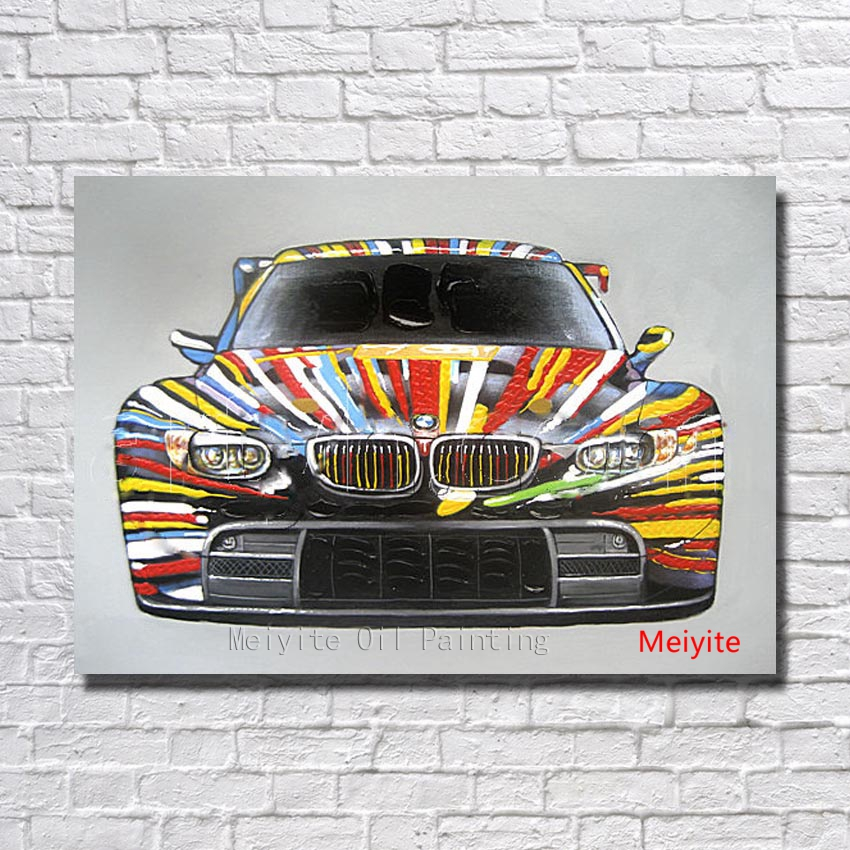 1 peices free shipping100 hand painted cool car oil painting home decoration modern acrylic paintings