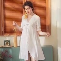 Summer Court Sexy Lace Half Sleeves Nightdress Loose Sleep Wear Night Dress Vintage Nightgown Cotton Sleepwear Women Nightshirt