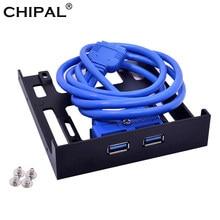 CHIPAL 20Pin 2 Port USB3.0 Hub USB 3.0 ön Panel kablosu adaptörü FDD braketi bilgisayar masaüstü 3.5 inç disket Disk sürücüsü bay