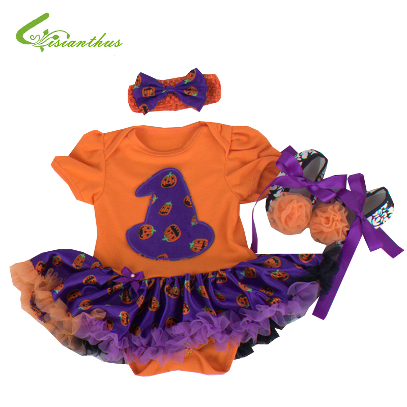 Baby Girls Halloween Costumes Pumpkin Romper Dress + Headband + Shoes Clothing Sets Bebe Cosplay Party Clothes Free Drop Ship anime death note kira ryuuzaki cosplay clothing costumes chiffon cloak fans ouendan unisex clothes party wearing best gift