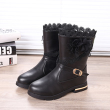 2017New fashion winter children's shoes girls Wear-resistant non-slip snow boot high boots lace leather boots