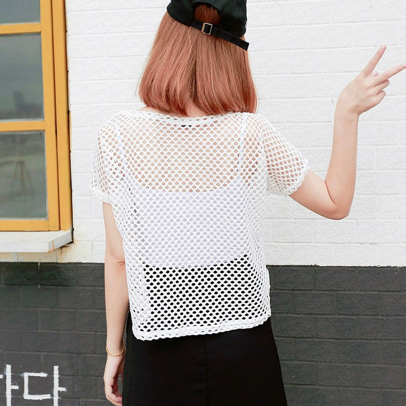 Sexy Black Mesh Hollow Out Crochet Lace Short Tshirt Women Summer Harajuku O Neck Loose Fashion T Shirt camiseta mujer 2019 New in T Shirts from Women 39 s Clothing