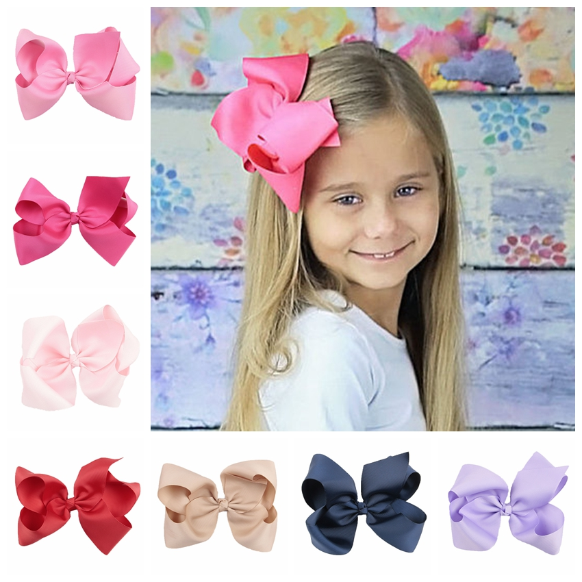 Yundfly 20pcs/lot 6 Inch Big Ribbon Bow Hairpin Baby Girls Bow Clips Kid Hair Clip Boutique Hair Accessories(Color:20 Colors)
