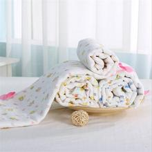 110*110 6 layers multi-use 100% cotton gauze Baby Blanket Swaddle Cartoon Printed Cotton Toddler for NewBorn Receiving Blankets
