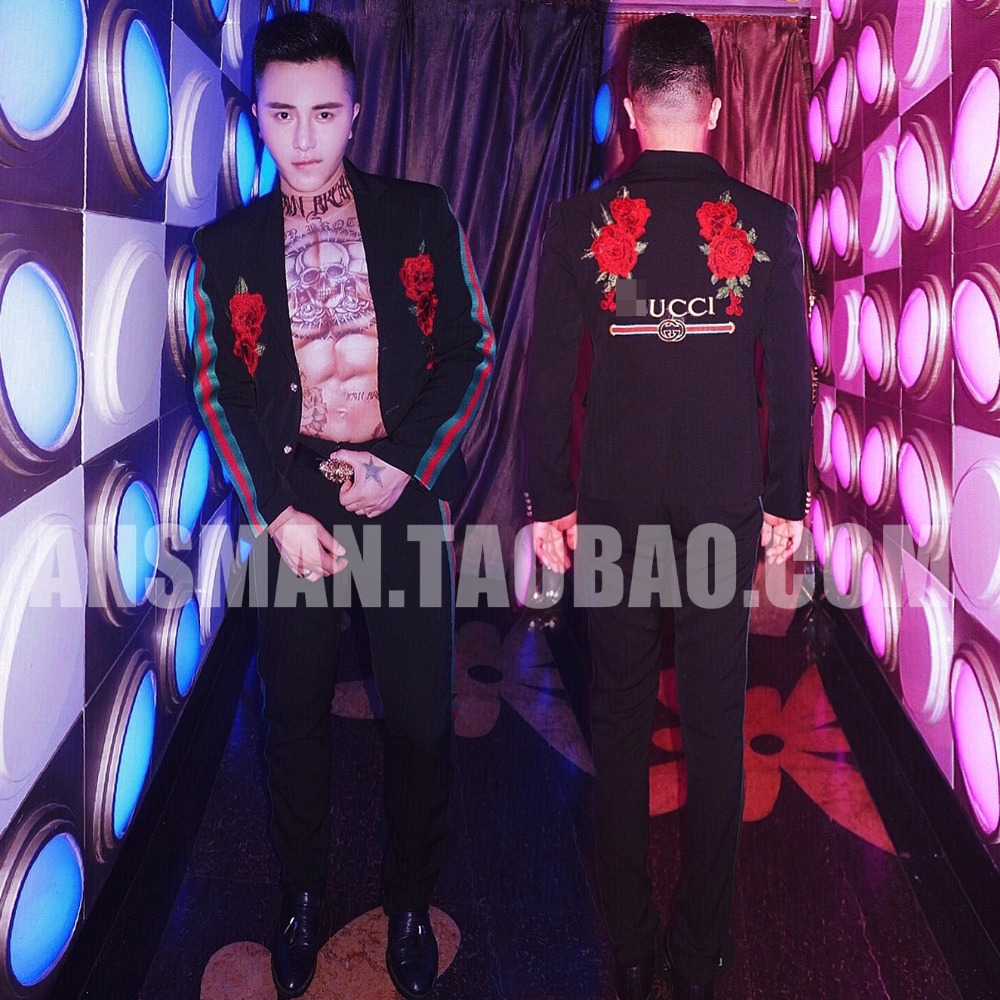 DJ DS embroidered floral trim black suit(coat+pants) 2pcs with G LOGO Suit for bar club male song host performance image
