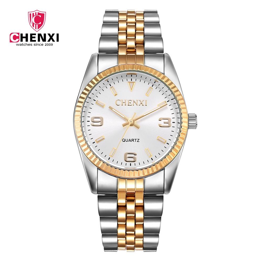 CHENXI Luxury Men Watch Silver Between Gold Rhinestone Lovers Wristwatches Nail Strap Classic Retro Man Women Business Watches