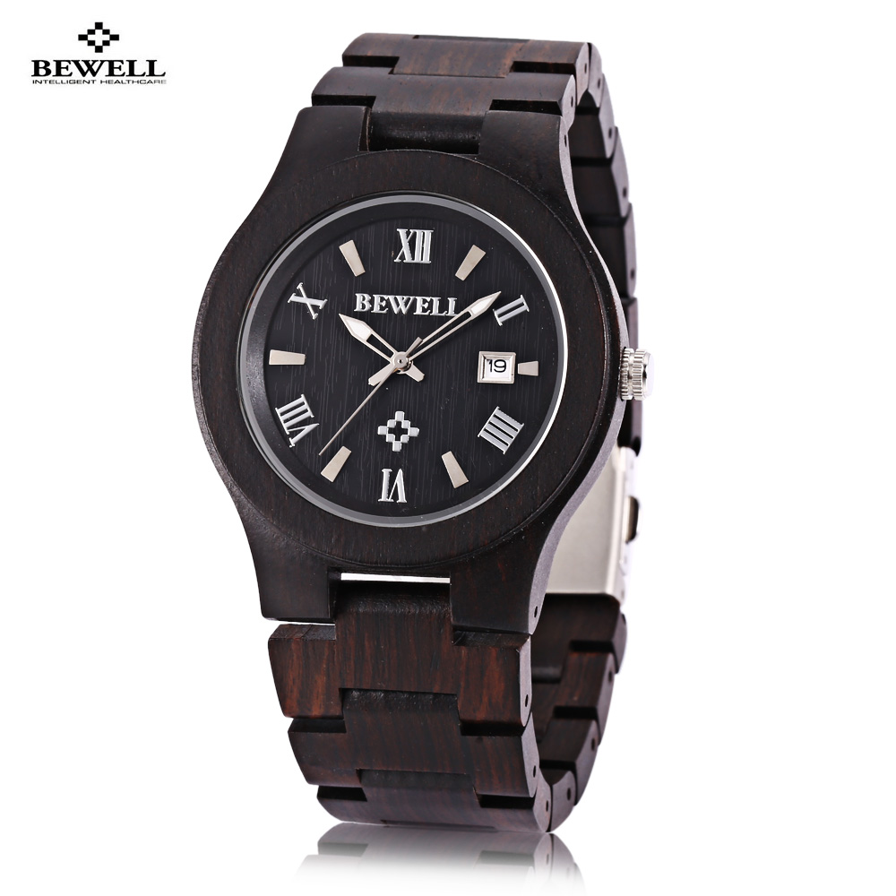 2018 New Arrival Bewell ZS - W127A Men Quartz Watch Wooden Case Date Luminous Display Japan Movt Wristwatch Relogio Masculino 2x car led door welcome light for nissan logo projector ghost shadow light for nissan teana 2006 2012 patrol 2010 2014