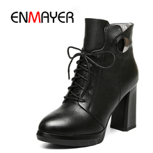 ENMAYER Newest High Quality Hand Made Women's Ankle Boots Cross-tied Lace Up Full Grain Leather Round Toe Shoes 34-39 WHY10 стоимость