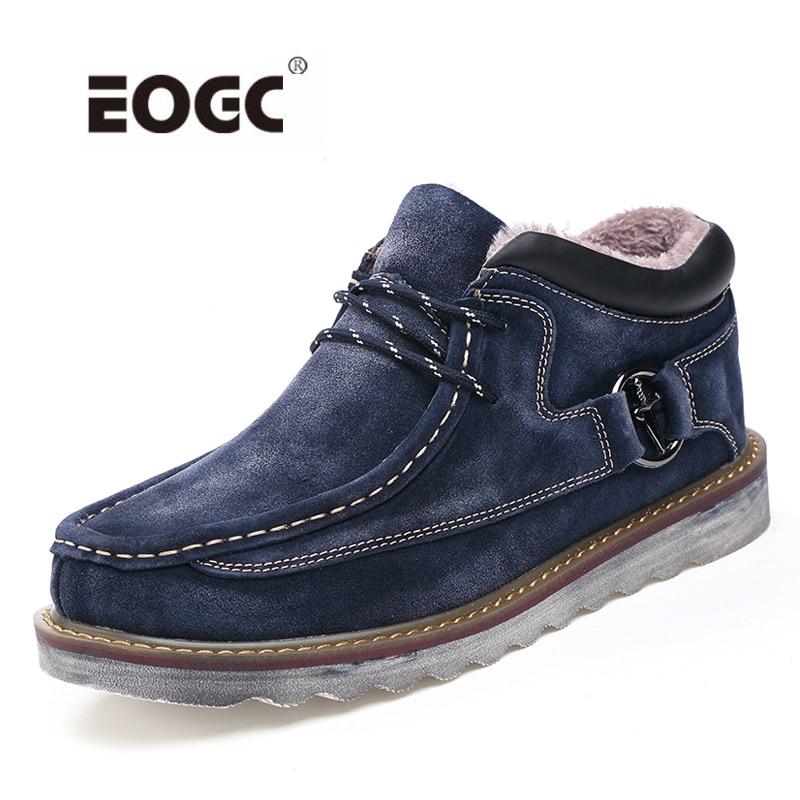 Super Warm Men Winter Boots Quality Nubuck Leather Snow Boots Fur Plush Winter Shoes For Men Lace Up Outdoor Boots Shoes