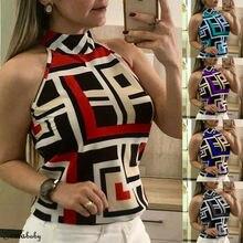 Summer Women Tops Sleeveless Geometric Printed Casual Slim Evening Party Tank Plus Female Tube Top
