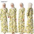 Желтый Цветок Длинное Платье для Женщин-Мусульманок Одежду Девушки Исламская Поклонение Костюм Печати Этническая Платье Мусульманской Абая Дамы Одежда