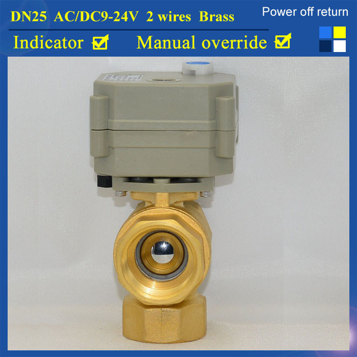 1'' AC/DC9-24V 2 Wires Power Off Return Automated Valve TF25-B3-B  NPT/BSP 3 Way T Type Motorized Valve DN25 For Water Control