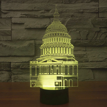 Wonderful 3D Illusion LED Lamp White House Building Shape luminaria Usb Lampe 3D Led Night Light Friends & Holiday Gifts