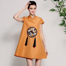 Women's floral Qipao dress spring and summer white/brown vintage embroidery elegant loose lady mini party cheongsam dress S-XXL