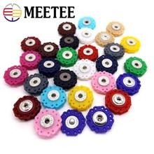 MEETEE 50pcs Resin Snap Button 23mm Clasp buttons Hollow flower Invisible Coat Buttons Fashion Suit buckle 16 colours ZK604
