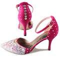 Ручной Орсе острым носом лодыжки ремень женщины на высоких каблуках sexy горный хрусталь кристалл насосы туфли ярко-розовый свадьба пром