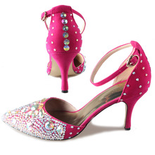 Handmade pointed toe D'orsay ankle strap woman high heels sexy rhinestone crystal pumps dress shoes hot pink wedding party prom
