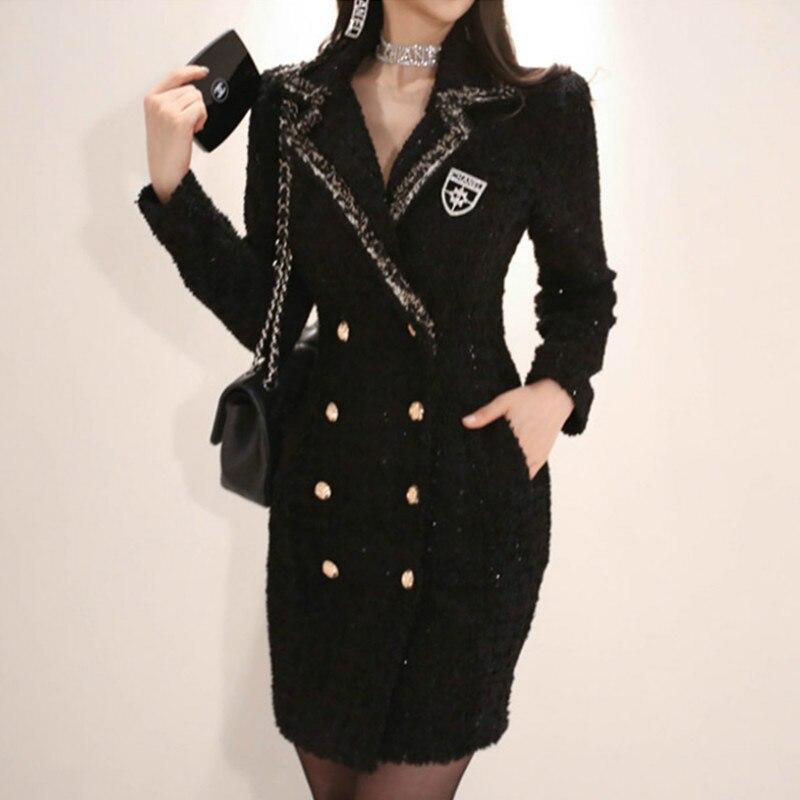 Manteau de Blazer de bureau épais à manches longues pour femmes