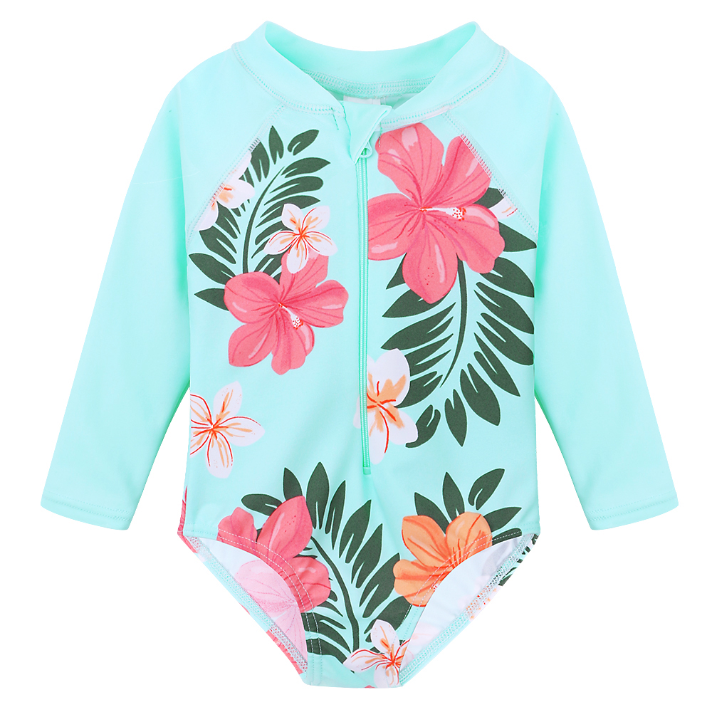 BAOHULU Cyan Flower Toddler&Infant Girls Swimwear Long Sleeve Baby Kids Swimsuit Children One Piece Bathing Suits 2018 Summer 1 8 years old kids swimsuit for girls lovely yellow duck bathing suit children swimsuit princess one piece swimwear swimming cap