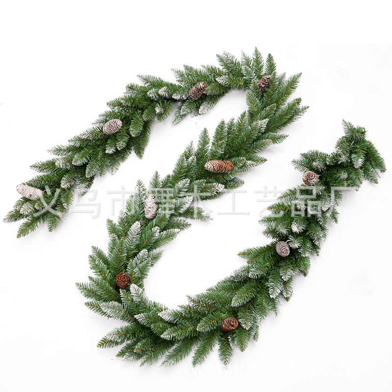 2 7m Christmas Garland Green With Snow Pine Cone Red Fruits