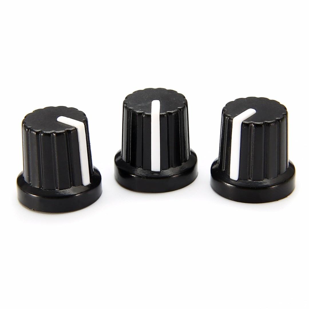 10pcs 6mm Shaft Hole Plastic Volume Control Potentiometer Knob Cap Black Ribbed Threaded Knurled a02 aluminum alloy volume potentiometer knob caps black 10 pcs