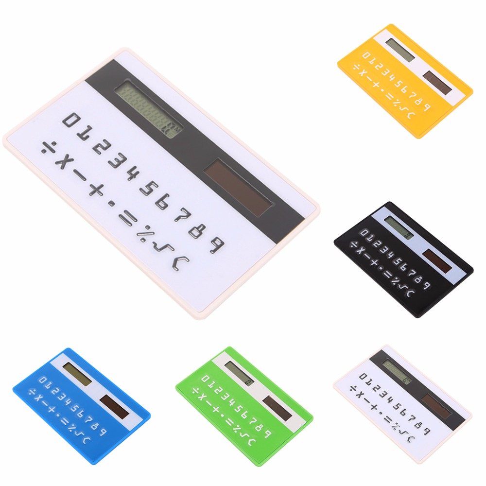 New Eco-friendly Ultra Slim Mini Credit Card Sized Solar Powered Pocket 8-Digit Calculator цена