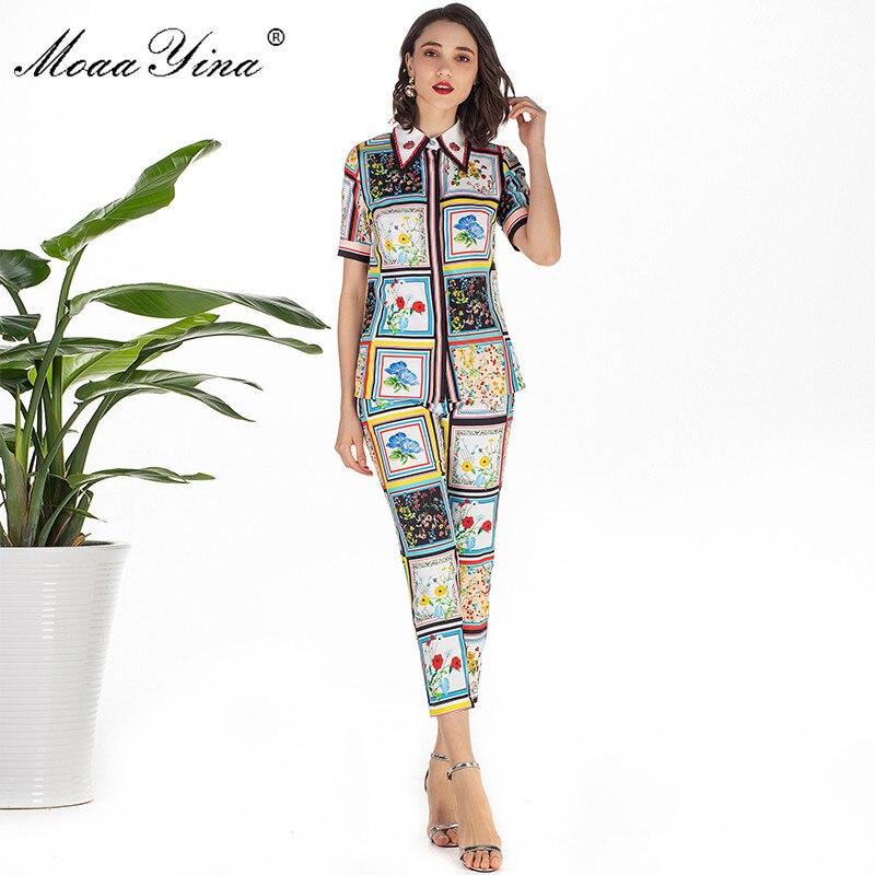 MoaaYina Fashion Designer Set Summer Women Short sleeve Turn down  Collar Beading Floral Print Elegant Tops 3/4 Pencil pants SetWomens  Sets