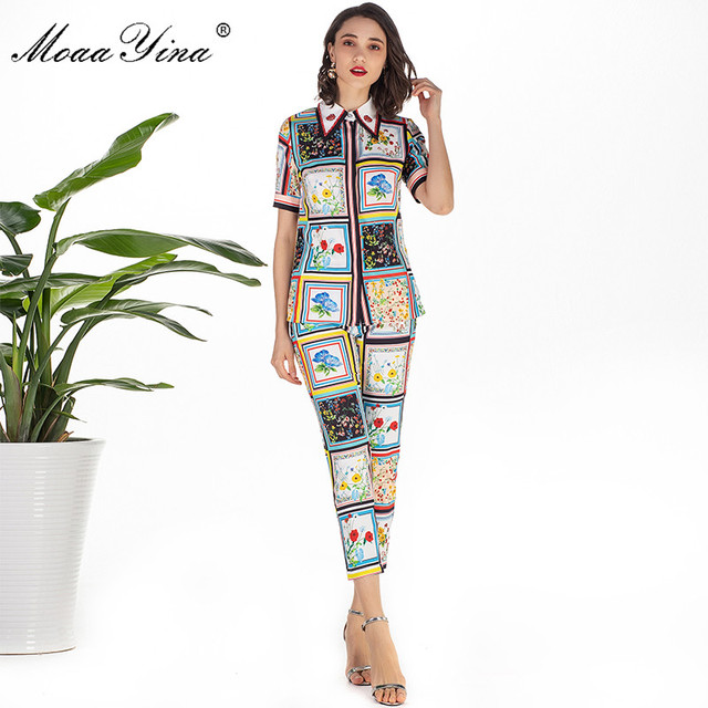 MoaaYina Mode Designer Set Sommer Frauen kurzarm drehen unten Kragen Perlen Floral Print Elegante Tops + 3/4 Bleistift hosen Set