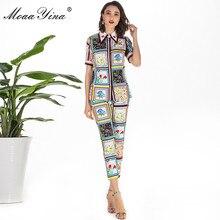 MoaaYina אופנה מעצב סט קיץ נשים קצר שרוול תורו למטה צווארון ואגלי פרחוני הדפסת אלגנטי חולצות + 3/4 מכנסי עיפרון סט