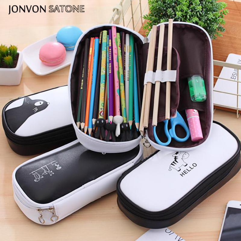 Jonvon Satone 1pcs Large Capacity Pencil Case Multifunctional Pencilcase Stationery Box Cover Kawaii Pencil Cases School Offices
