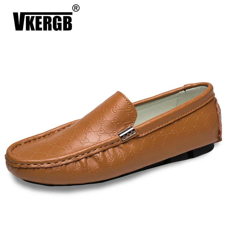 VKERGB/Качественная мужская обувь из натуральной кожи; коллекция 2018 года; сезон весна; повседневные кроссовки; Лидер продаж; ручная работа; лоферы; мужские ретро-мокасины; hombre; Цвет Черный