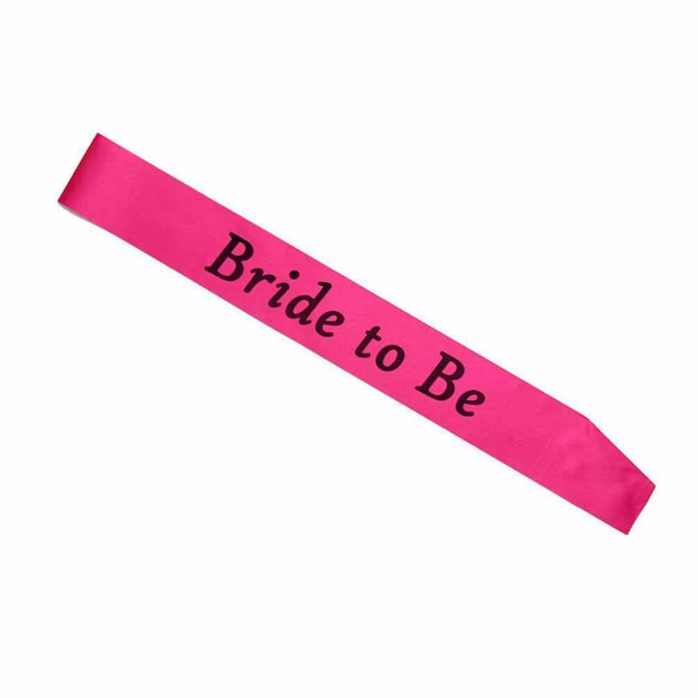 Satin Bride Menjadi Ikat dengan Cincin Berlian Bachelorette Pesta Ikat Pinggang untuk Hen Pesta Pernikahan Bridal Shower Hitam dengan Emas huruf
