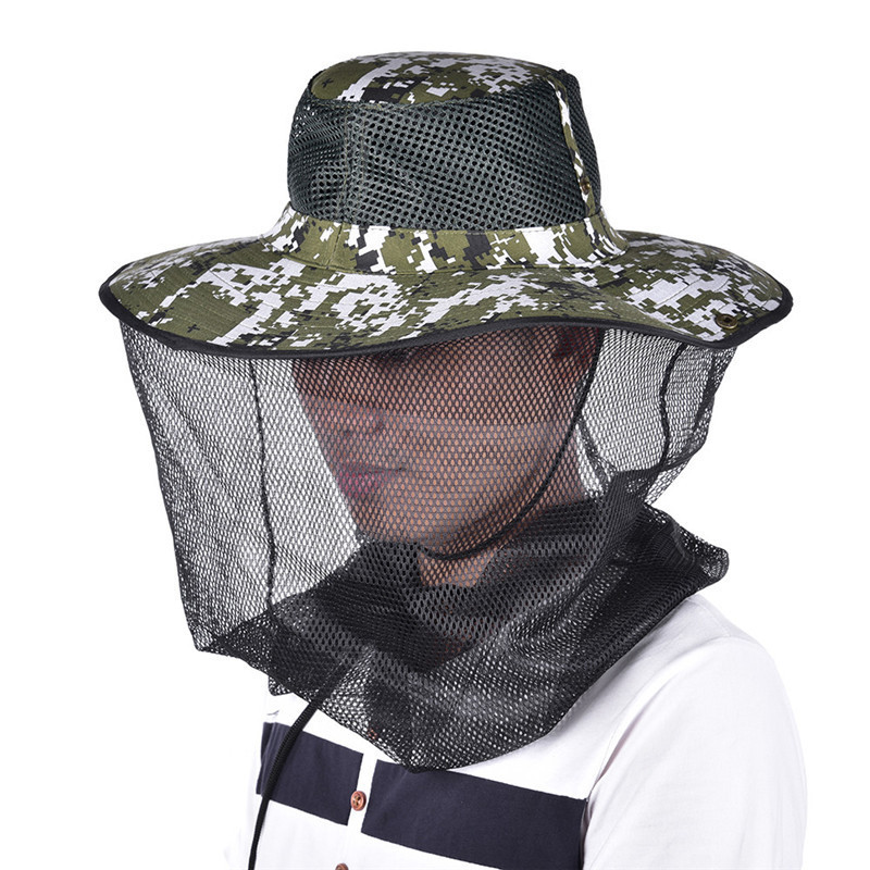 Tropic Hats Wide Brim Camouflage Mosquito Net Outdoor Fishing Bee Flying Insects Prevention Cap Bucket Hat UV Protection wide brim straw hat