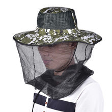 66f70a9266ace Tropic Hats Wide Brim Camouflage Mosquito Net Outdoor Fishing Bee Flying  Insects Prevention Cap Bucket Hat UV Protection
