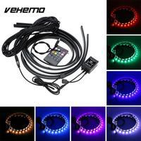 Vehemo 8 Colors LED Strip Flex Under Car Tube Underglow Underbody Neon Lights Kits