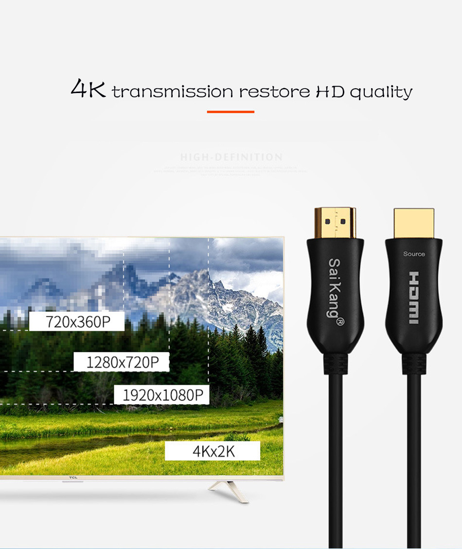 Hdmi Fiber Optic Cable 2 0 4K 60Hz 4:4:4 Ultra High Speed 18Gbps Supports Video 4K 2160p UHD 3D HDR HDMI 2 0 Type A to Type D in HDMI Cables from Consumer Electronics