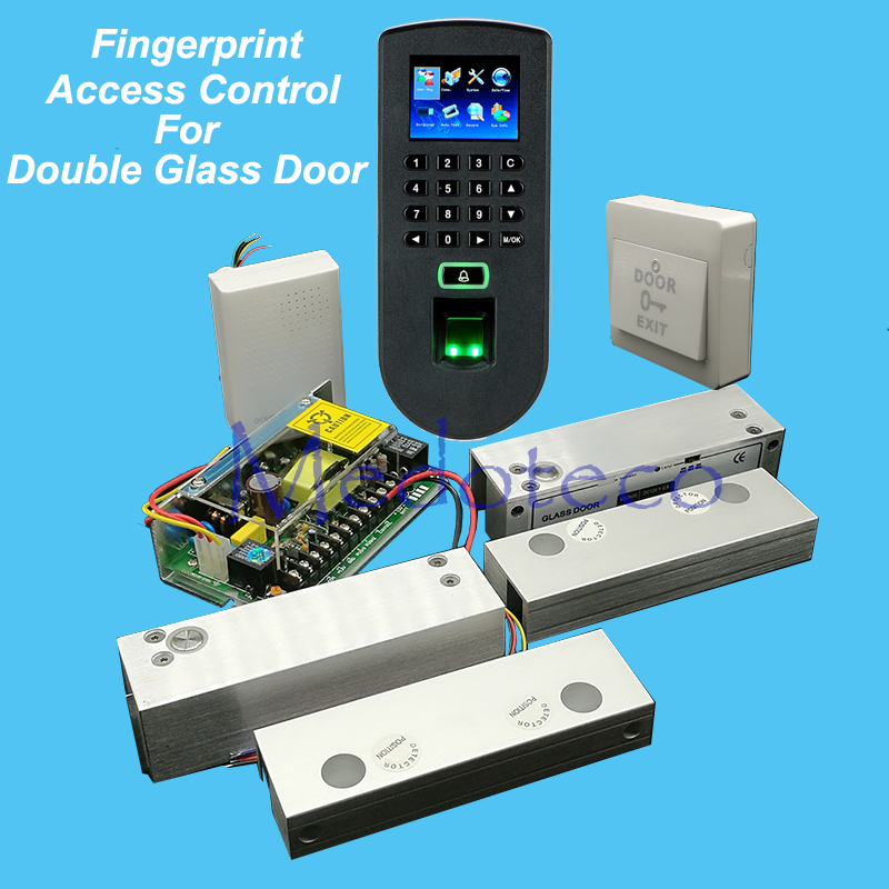 Full Fingerprint & Rfid Access Control System Kit Double Frameless Glass Door Access Control Set+Power Supply+Eletric Bolt Lock raykube glass door access control kit electric bolt lock touch metal rfid reader access control keypad frameless glass door