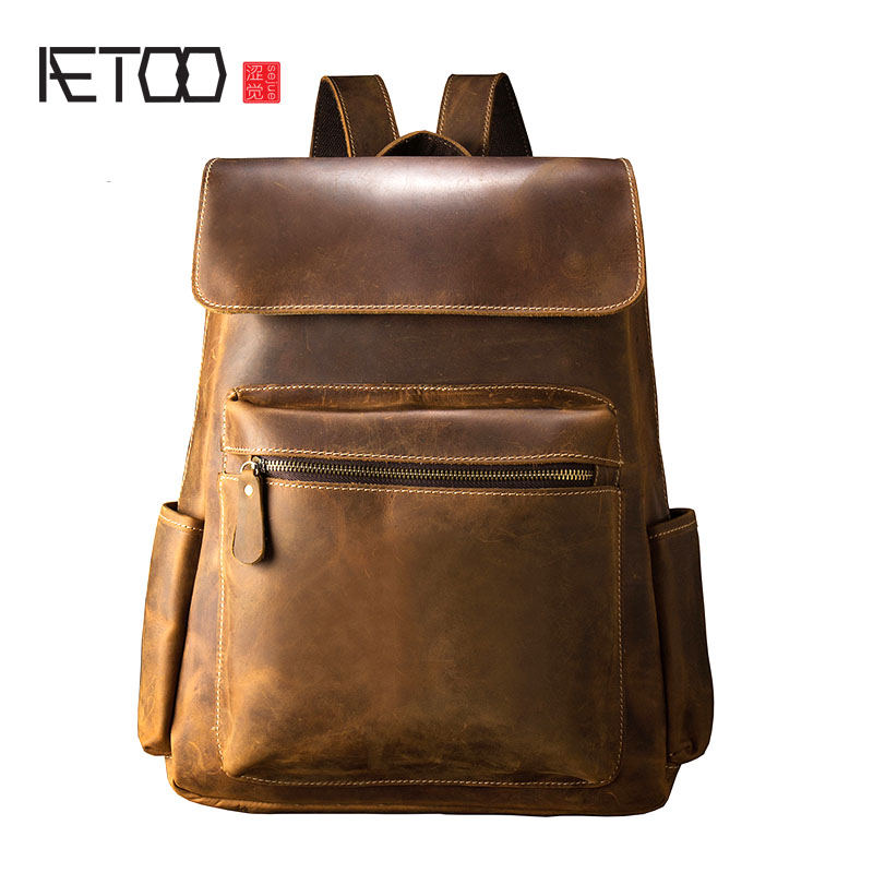 AETOO Handmade leather shoulder bag men fashion trend cowhide backpack male travel bag man retro mad horse leather men bag bag aetoo women retro shoulder bag fashion handbags europe and america shoulder bag head layer cowhide mad horse shopping bag