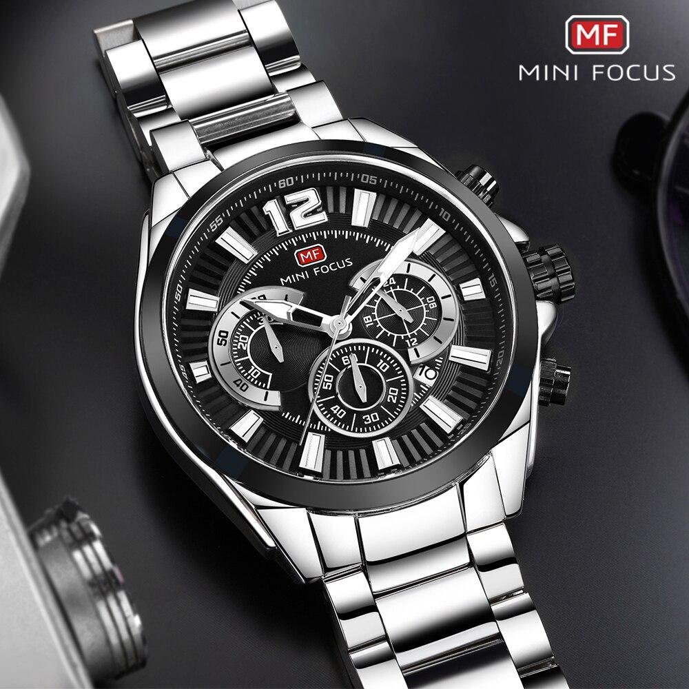 купить MINIFOCUS Brand Luxury Full Steel Sports Watches Men Fashion Business Waterproof Quartz Military Wrist Watch Relogio Masculino по цене 1903.25 рублей