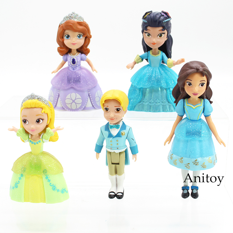 Anime Sofia The First Princess Sofia Amber James Princess Hildegard PVC Action Figure Doll Toy Kids Girls Gifts 5pcs/set 11 5cm pvc funko pop cinderella doll action figure toy princess cinderella model figures for girls hot toys anime brinquedos