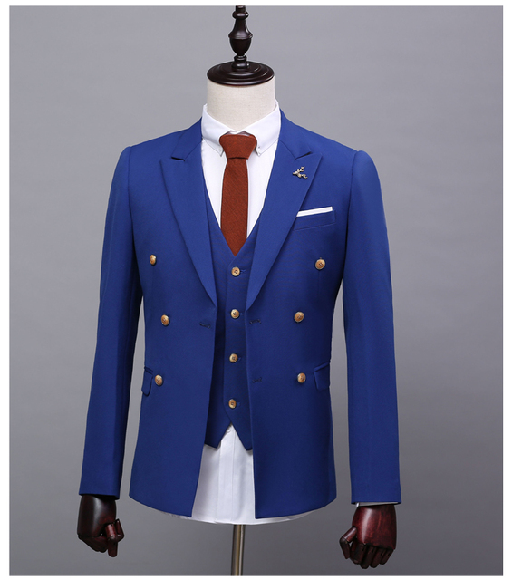 2017 Mens Wedding Suits Custom Made High Quality Royal Blue Tuxedos Men 3 Piece Wedding Suits Groomsman Suits Grooms Suits