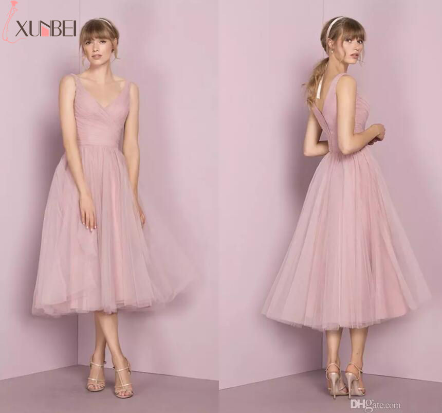 Xunbei 2018 Custom Made Solid Pink   Bridesmaid     Dress   V Neck Sleeveless Tea Length Ball Gown Elegant Wedding Party   Dresses