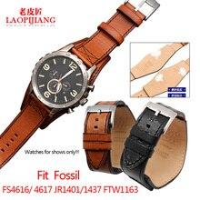 Pulsera de cuero con bandeja y correa para reloj, accesorio de reloj de pulsera para 22 y 24mm, compatible con fossil FS5088, FS4656, BQ1718, FS4616, 4617, JR1401, 1437, FTW1163