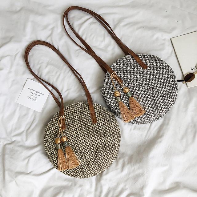 Round Straw Tassel Bags