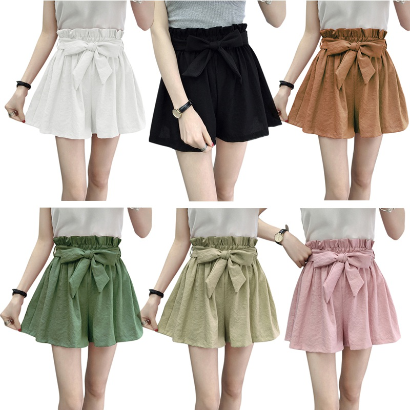 2019 Women Shorts High Waist Elastic Fashion Lady Sexy Summer Casual Shorts Beach Bow Ladies Shorts
