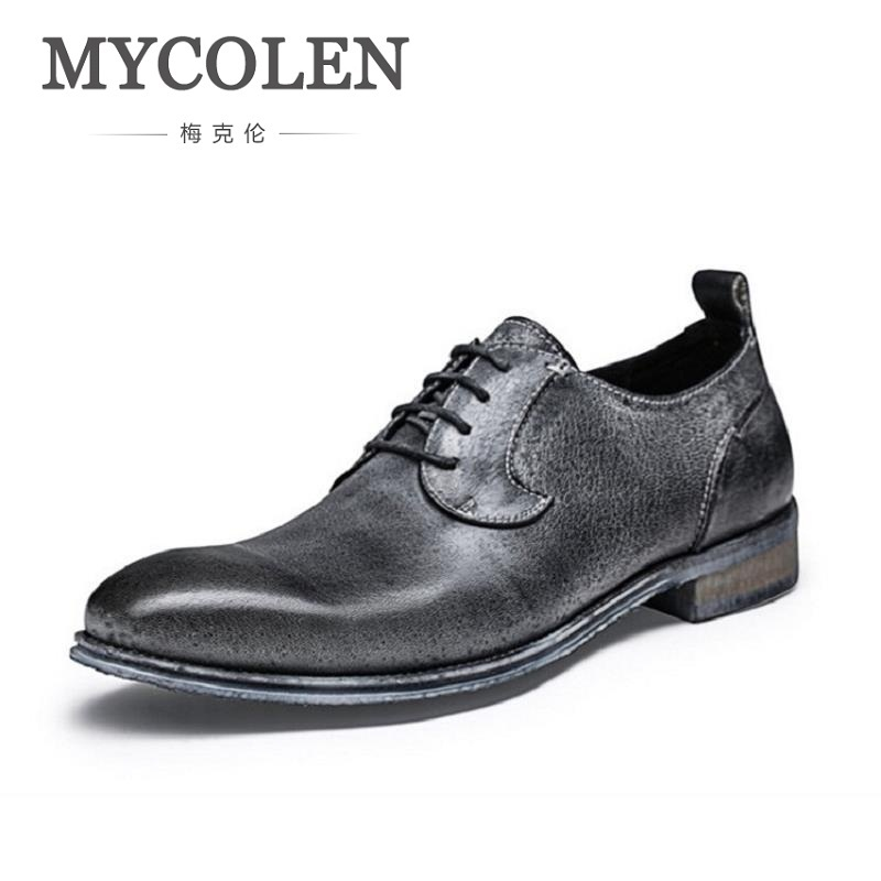 MYCOLEN Genuine Leather Mens Dress Shoes High Quality Retro Oxford Shoes Lace-Up Business Men Shoes Brand Men Wedding Shoes цена