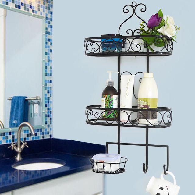 Wrought Iron Wall Mounted Toilet Supplies Bathroom Storage Shelf Multi Layer
