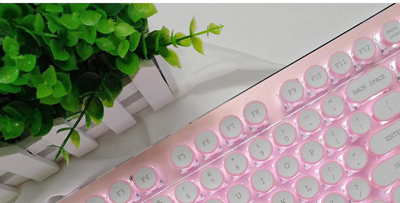 ABS USB Wired Typewriter Steam Punk Style Keyboard With Round Glowing Keycaps For PC Laptop 17