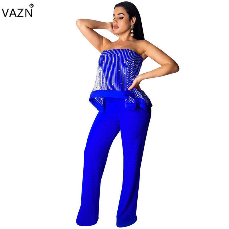 Liberal Vazn Hot Fashion Sexy Style 2019 Women Wide Leg Long Jumpsuit Solid 4 Color Strapless Sleeveless Beading Straight Romper Qm3658 Women's Clothing