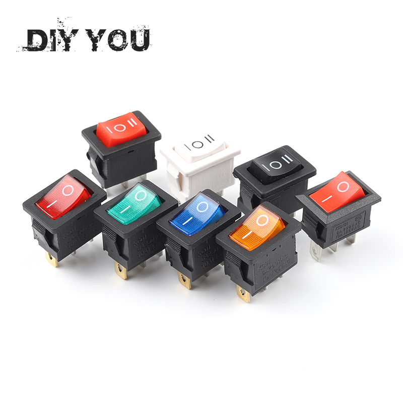 5 PCS/Lot KCD1 21X15mm 3Pin Boat Car Rocker Switch 6A/250VAC 10A/125VAC Red Yellow Green Blue Power Button Switch With Light